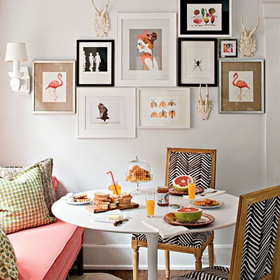 white walls dining room
